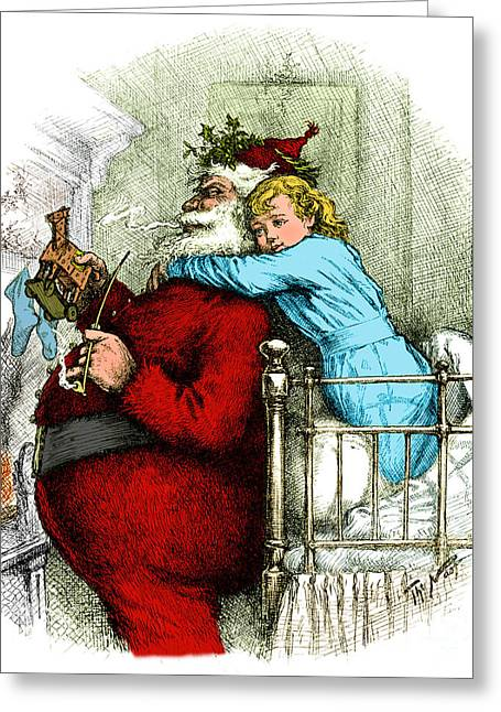 Nast Greeting Cards - Santa Claus Gets Caught 1889 Greeting Card by Photo Researchers