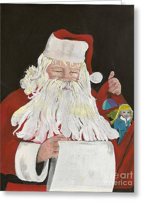 Nicholas Greeting Cards - Santa Claus is Coming to Town - Making a List Greeting Card by Jan Dappen