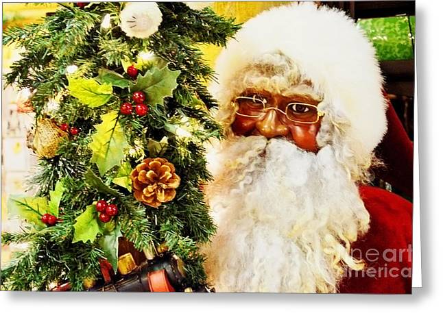 Christmas Eve Greeting Cards - Santa Claus Is Coming To Town Greeting Card by Luther   Fine Art
