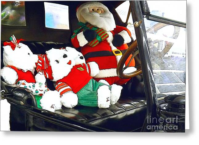 Ford Model T Car Greeting Cards - Santa Claus Is Coming To Town Greeting Card by Robyn King