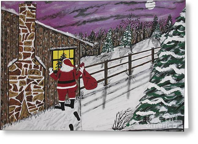Santa Claus Is Watching Greeting Card by Jeffrey Koss