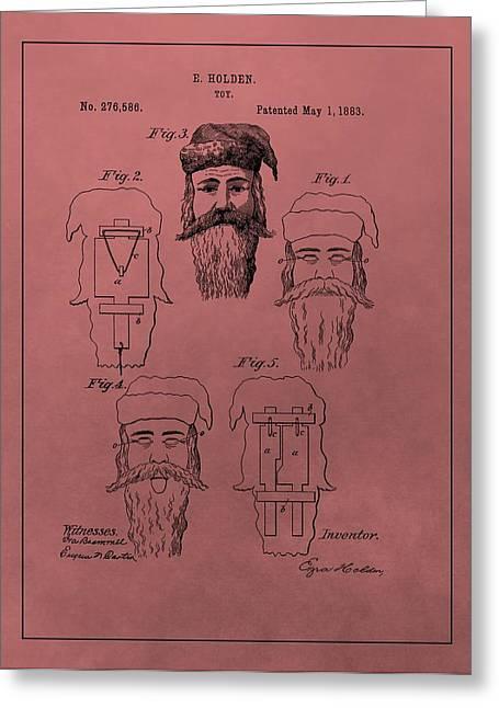 Nicholas Mixed Media Greeting Cards - Santa Claus Mask Patent Greeting Card by Dan Sproul