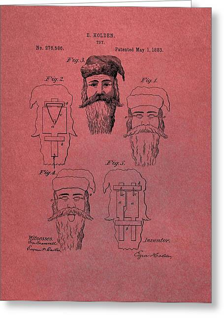 Nicholas Mixed Media Greeting Cards - Santa Claus Mask Patent Red Greeting Card by Dan Sproul