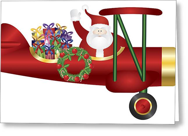 Delivering Presents Greeting Cards - Santa Claus on Biplane Delivering Presents Illustration Greeting Card by JPLDesigns
