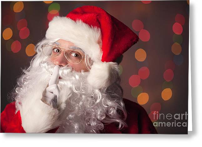 Shh Greeting Cards - Santa Claus Says Shhh Greeting Card by Sharon Dominick