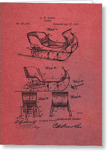 Christmas Eve Greeting Cards - Santa Claus Sleigh Patent Red Greeting Card by Dan Sproul