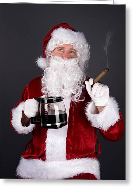 The Real Santa Claus Greeting Cards - Santa Claus smoking a cigar and drinking coffee Greeting Card by Joe Belanger