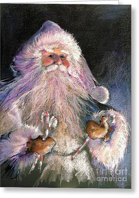 Santa Claus Greeting Cards - SANTA CLAUS - Sweet Treats at Fireside Greeting Card by Shelley Schoenherr