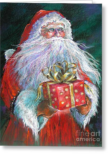 work Drawings Greeting Cards - Santa Claus - The Perfect Gift Greeting Card by Shelley Schoenherr