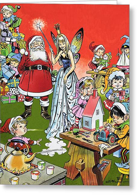 Elf Greeting Cards - Santa Claus Toy Factory Greeting Card by Jesus Blasco