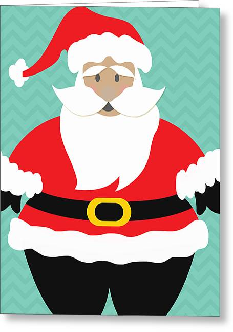 Kid Greeting Cards - Santa Claus with Medium Skin Tone Greeting Card by Linda Woods