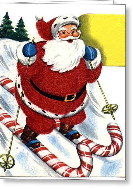 St Nick Greeting Cards - Santa Clause Skiing Greeting Card by Unknown