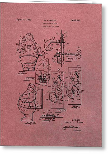 The North Greeting Cards - Santa Clause Toy Patent Greeting Card by Dan Sproul