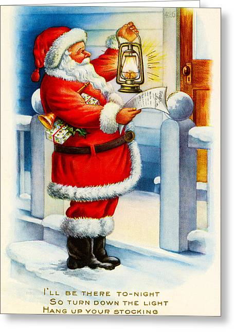 Religious Art Digital Art Greeting Cards - Santa Clause Greeting Card by Vintage Christmas Card Image