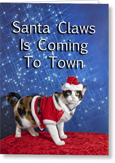 Cool Attitude Greeting Cards - Santa Claws Greeting Card by Melany Sarafis