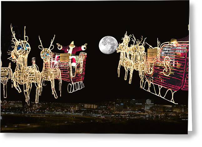 Old Saint Nick Greeting Cards - Santa Coming and Going Greeting Card by Thomas Woolworth