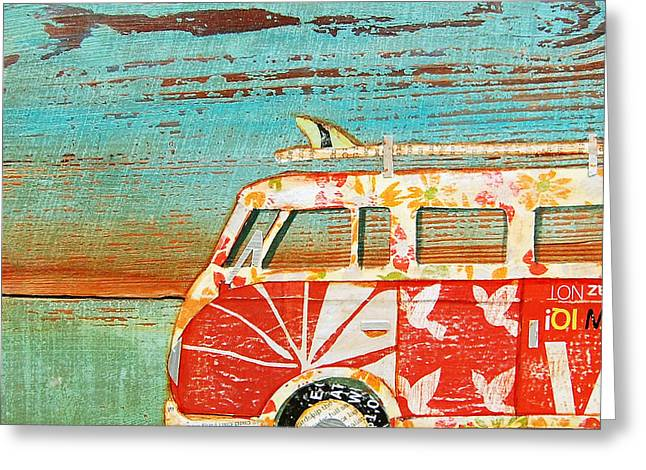 Nostalgic Mixed Media Greeting Cards - Santa Cruise Greeting Card by Danny Phillips