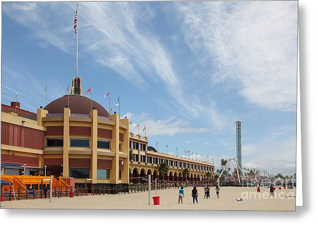 Volley Greeting Cards - Santa Cruz Beach Boardwalk California 5D23748 Greeting Card by Wingsdomain Art and Photography