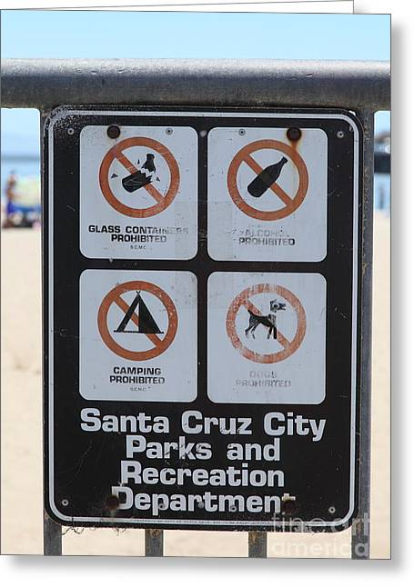 Santa Cruz Ca Photographs Greeting Cards - Santa Cruz Beach Sign At The Santa Cruz Beach Boardwalk California 5D23840 Greeting Card by Wingsdomain Art and Photography