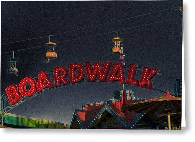 Santa Cruz Art Greeting Cards - Santa Cruz Boardwalk 3 Greeting Card by Scott Campbell