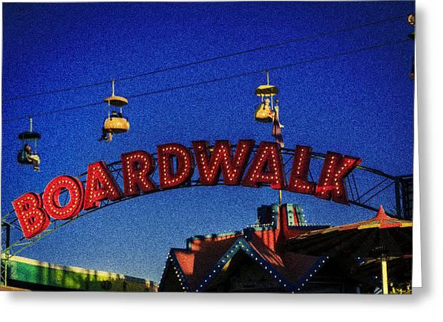 Santa Cruz Art Greeting Cards - Santa Cruz Boardwalk 4 Greeting Card by Scott Campbell