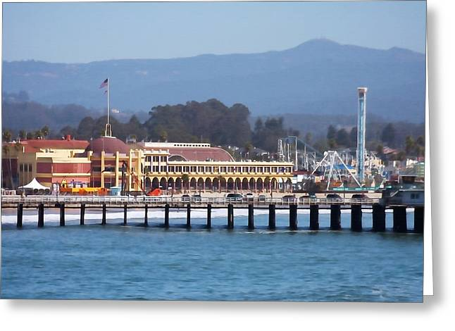Santa Cruz Pier Greeting Cards - Santa Cruz Boardwalk Greeting Card by Art Block Collections