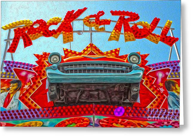 Santa Cruz Boardwalk - Rock And Roll Greeting Card by Gregory Dyer