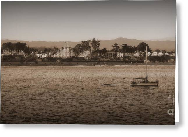 Santa Cruz Sailboat Greeting Cards - Santa Cruz boardwalk sepia 2 Greeting Card by Garnett  Jaeger