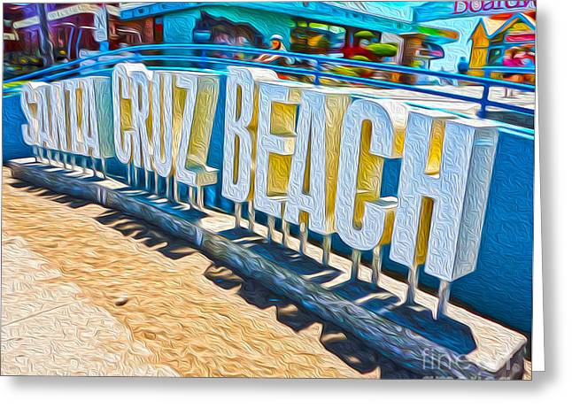 Gregory Dyer Greeting Cards - Santa Cruz Boardwalk Sign Greeting Card by Gregory Dyer