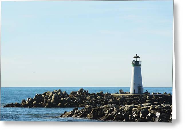 Santa Cruz Digital Greeting Cards - Santa Cruz California Lighthouse Greeting Card by Barbara Snyder