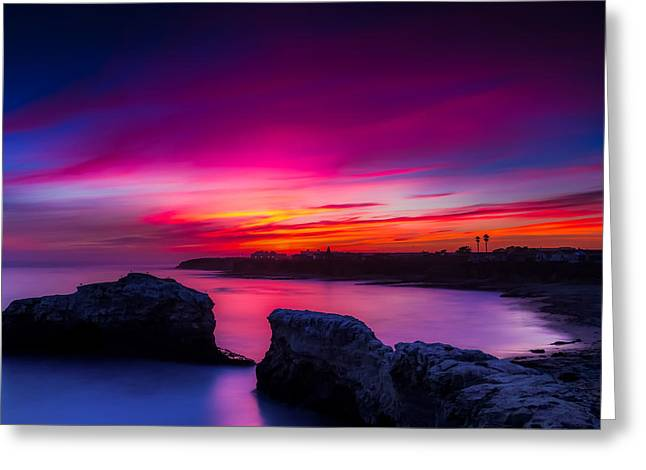 Santa Cruz Cliffs Sunset Photo Santa Cruz California Greeting Card by Dave Gordon