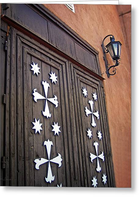 Minster Abbey Greeting Cards - Santa Cruz de la Canada Mission Doors Greeting Card by Julie Magers Soulen