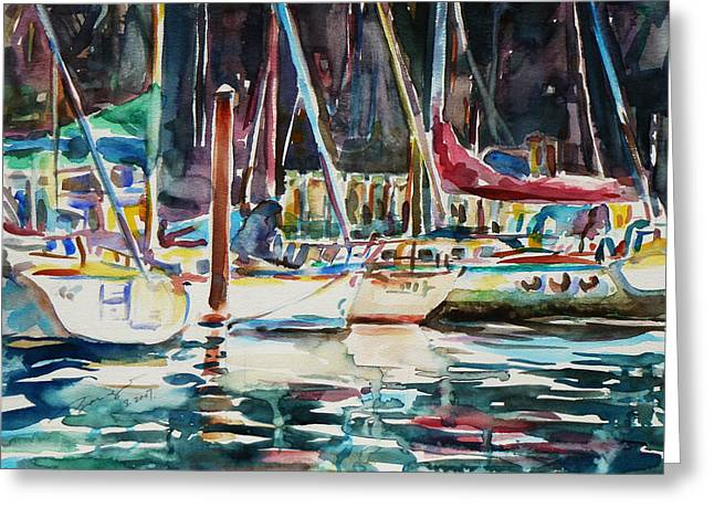Santa Cruz Art Greeting Cards - Santa Cruz Dock Greeting Card by Xueling Zou