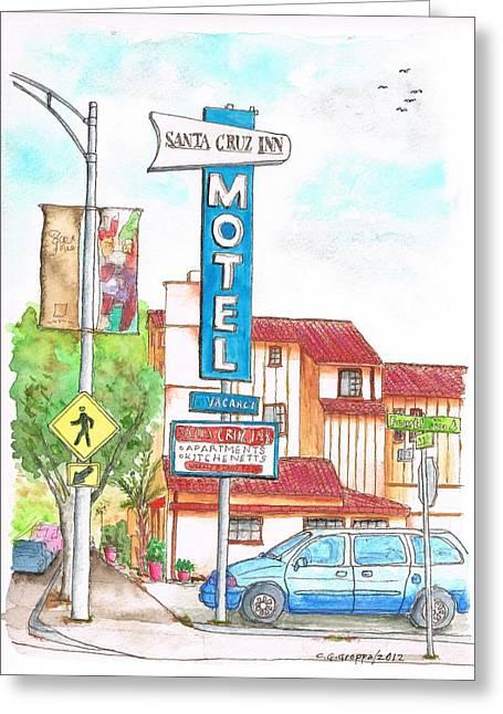 Santa Cruz Paintings Greeting Cards - Santa Cruz Inn Motel in Riverside - California Greeting Card by Carlos G Groppa