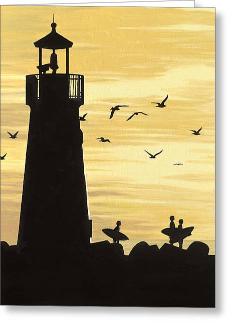 Coast Hwy Ca Greeting Cards - Santa Cruz Lighthouse Greeting Card by Andrew Palmer