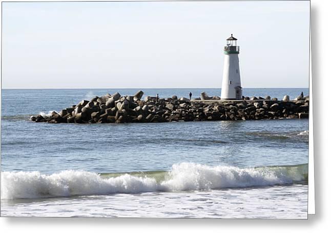 Santa Cruz Digital Greeting Cards - Santa Cruz Lighthouse Wave Wide Greeting Card by Barbara Snyder