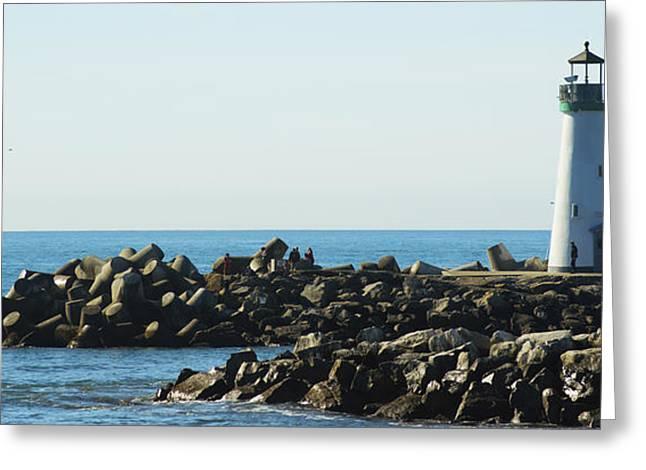 Santa Cruz Digital Greeting Cards - Santa Cruz Lighthouse Wide Greeting Card by Barbara Snyder