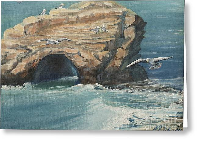 Santa Cruz Ca Paintings Greeting Cards - Santa Cruz Natural Bridges Greeting Card by Jeanne Wrede