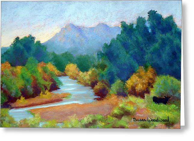 River View Pastels Greeting Cards - Santa Cruz River Greeting Card by Susan Woodward