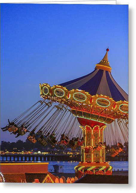 Glow Greeting Cards - Santa Cruz SeaSwing and The Pier 3 Greeting Card by Scott Campbell