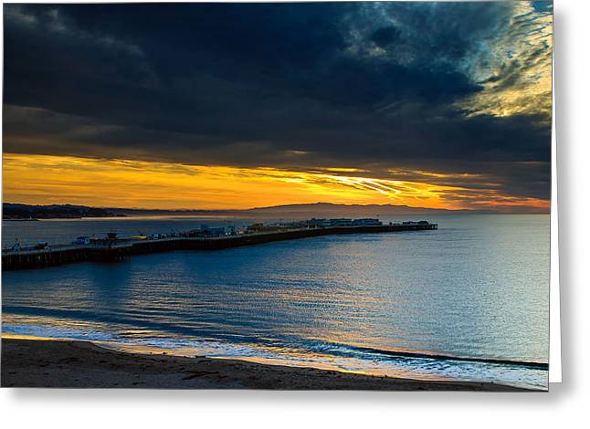 Santa Cruz Wharf Greeting Cards - Santa Cruz sunrise at the Fishermans Wharf Greeting Card by Kevin Bermingham
