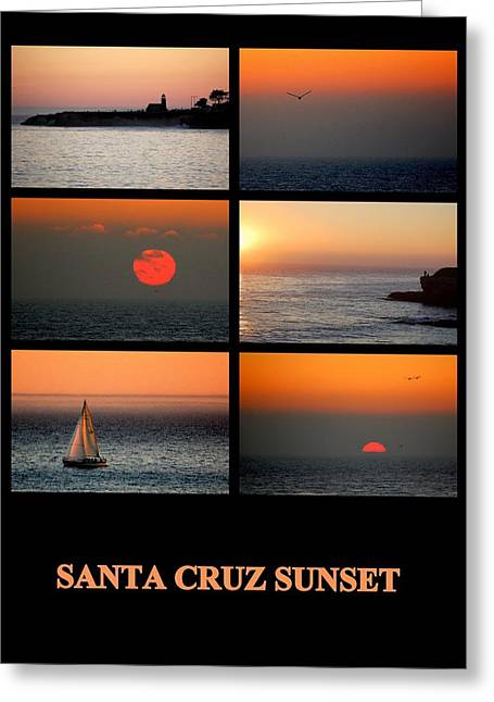Santa Cruz Sailboat Greeting Cards - Santa Cruz Sunset  Greeting Card by AJ  Schibig