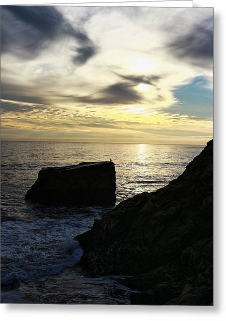Steamer Lane Greeting Cards - Santa Cruz Sunset Greeting Card by Richard Cheski