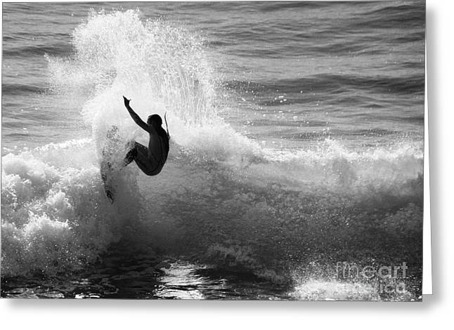 Santa Cruz Surfer Black And White Greeting Card by Paul Topp