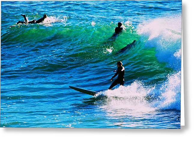 Santa Cruz Surfing Greeting Cards - Santa Cruz Surfers Greeting Card by Eric Tressler