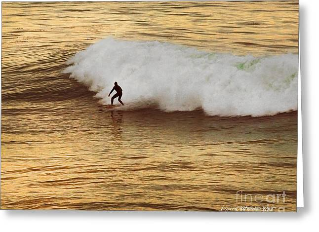 Surfing In Santa Cruz Greeting Cards - Santa Cruz Surfing at the Golden Hour Greeting Card by Artist and Photographer Laura Wrede