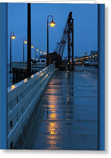 Santa Cruz Pier Greeting Cards - Santa Cruz Wharf at Dusk Greeting Card by Chris Thomas