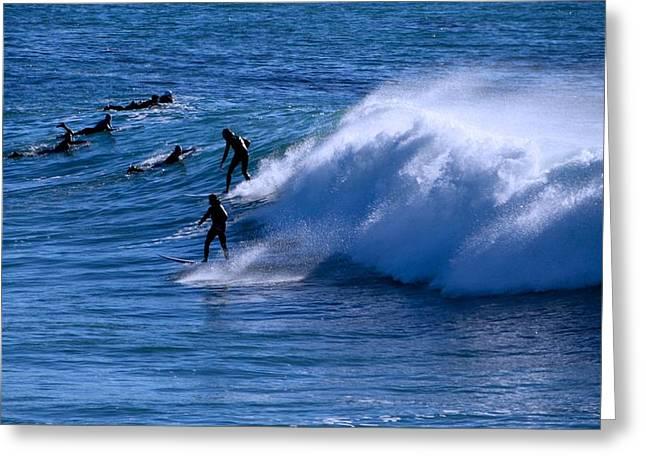 Santa Cruz Surfing Greeting Cards - Santa Cruz Winter Waves Greeting Card by Eric Tressler