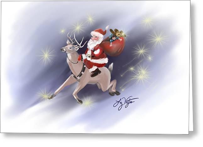 Old Saint Nick Greeting Cards - Santa Delivers Greeting Card by Liz Viztes