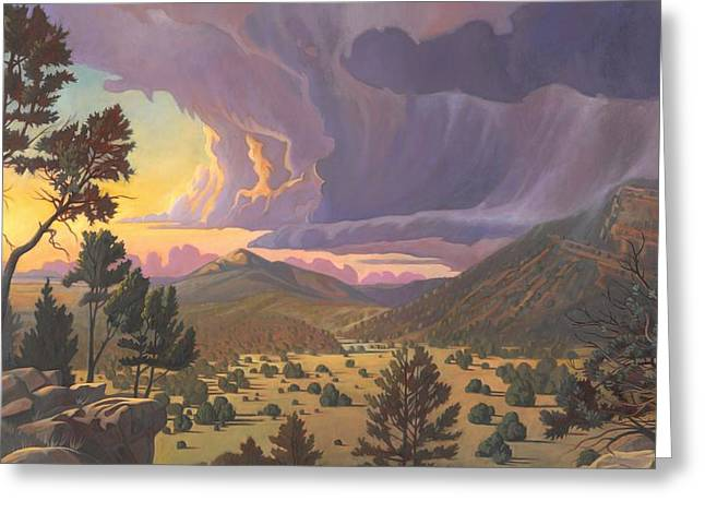 Pinion Paintings Greeting Cards - Santa Fe Baldy Greeting Card by Art James West